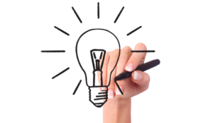 Dessin d'une ampoule = idées